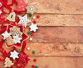Christmas Cookies On Rustic Background