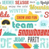 Seamless vector pattern with snowboarding stuff and words, flat design