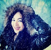 Beautiful Lady With Winter Jacket Outdoors