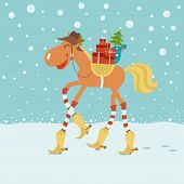 Christmas Card With Horse In Cowboy Hat And Boots In Winter Background