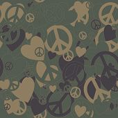 Surreal Military Camouflage Background with Love and Pacifism sign