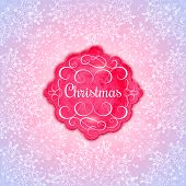 Background with Christmas Label. Greeting Card.