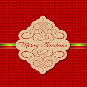 Knitted Background with Christmas Label. Greeting Card.