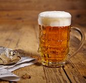 Russian snack . Beer and dried fish