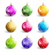 Set Of Beautiful Colorful Christmas Balls Isolated