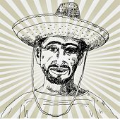 a Portrait of Happy Mexican Hand Drawn