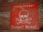 Lane Mine Warning Sign in Cambodia