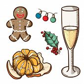 Christmas and New Year objects collection.