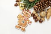 christmas background with biscuit and ornaments