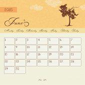 Calendar for June 2015 starting Monday, vector calendar set