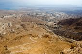 stock photo of israel people  - View from Masada in Israel to the dead sea with  - JPG