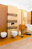 foto of lavabo  - Nature style marble bathroom in earth colours - JPG