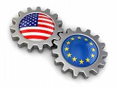 image of snatch  - USA and European union flags on a gears - JPG