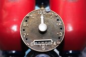 stock photo of fuel pump  - Closeup of old fuel pump dial with arrow - JPG