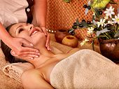picture of beauty parlour  - Woman getting head massage in tropical beauty spa - JPG