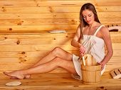 pic of sauna woman  - Young woman in  wooden sauna - JPG