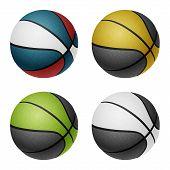 stock photo of combine  - Combinated color basketballs - JPG