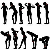 foto of low-necked  - Silhouettes of women with different pain locations - JPG