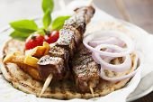 picture of souvlaki  - grilled meat skewer on pita bread - JPG