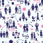 stock photo of married couple  - Family seamless pattern with hand drawn married couples kids and parents vector illustration - JPG