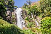 pic of thong  - Vachirathan Waterfall or Namtok Vachirathan and blue sky Chom thong Chiang mai Thailand - JPG