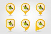 pic of hand-barrow  - Wheelbarrow carts flat mapping pin icon with long shadow eps 10 - JPG