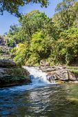 stock photo of thong  - Vachirathan Waterfall or Namtok Vachirathan and blue sky Chom thong Chiang mai Thailand - JPG