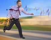 pic of running-late  - Running businessman in a hurry with blurred background - JPG