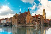 picture of rosary  - Scenic cityscape with a medieval fairytale town and tower Belfort from the quay Rosary - JPG