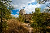 picture of mountain chain  - .  The tower and the fortress situate on mountain of Crimea. - JPG