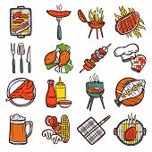 stock photo of food preparation tools equipment  - Bbq grill colored decorative icons set with barbeque and cooking utensil isolated vector illustration - JPG