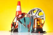 picture of rectifier  - car accessories and road emergency items n yellow background - JPG
