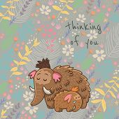 picture of mammoth  - Colorful floral card with cartoon mammoth - JPG