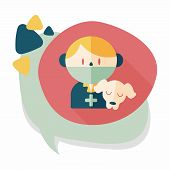 pic of vet  - Pet Vet And Dog Flat Icon With Long Shadow - JPG