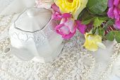 picture of mother-of-pearl  - A pretty vintage teapot with lace pearls and fresh roses perfect for Mothers Day or a special occasion - JPG
