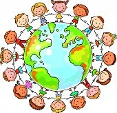image of peace  - Happy cartoon children round the Globe as a symbol of peace or global communication - JPG