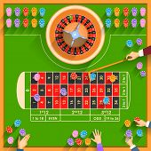 pic of roulette table  - easy to edit vector illustration of working table of casino - JPG