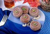 stock photo of barfi  - Badayuni Peday is a rounded shapes sweets - JPG