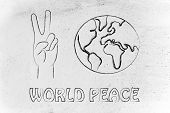 foto of peace  - globe and hands making peace sign - JPG
