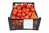 The Box Of Bright Red Tomatoes Isolated Over White