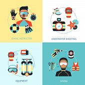 picture of shoot out  - Diving design concept set with instructor euipment underwater shooting flat icons isolated vector illustration - JPG