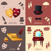 foto of spectacles  - Theater design concept set with spectacle audience writer and actors icons isolated vector illustration - JPG