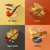 stock photo of tobacco-pipe  - Tobacco design concept set with pipe cigars and cigarettes icons isolated vector illustration - JPG