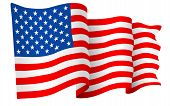 picture of waving  - USA American flag vector illustration isolated on white background - JPG