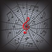 Music Notes In The Spider Web