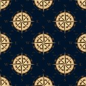 stock photo of longitude  - Golden stylized compass rose in retro style seamless pattern on dark blue background for luxury wallpaper or adventure design - JPG