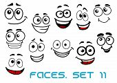 stock photo of cartoon character  - Cartoon emotional funny faces characters with cheerful - JPG
