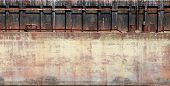 stock photo of barge  - Detailed closeup old rusted barge hull background photo texture - JPG