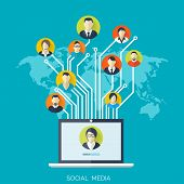 image of avatar  - Flat social media and network concept - JPG