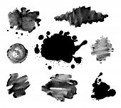 stock photo of dab  - Abstract ink paint texture vector  on white background - JPG